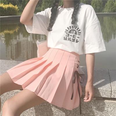 春夏女装韩版小清新少女绑带高腰百褶裙学生半身裙百搭短裙A字裙