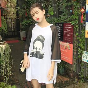春夏新款韩版学院风雪纺拼接七分袖人物印花宽松显瘦学生T恤女装