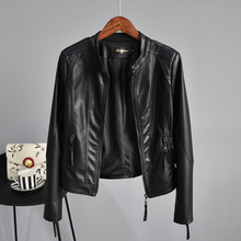 Korean version of the new spring dress in 2019, body-building locomotive leather jacket, water-washed PU leather jacket, women's short collar jacket