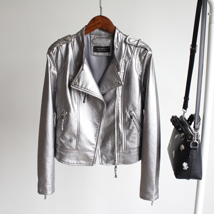 2018 tide spring new collar double zipper bright motorcycle leather jacket water