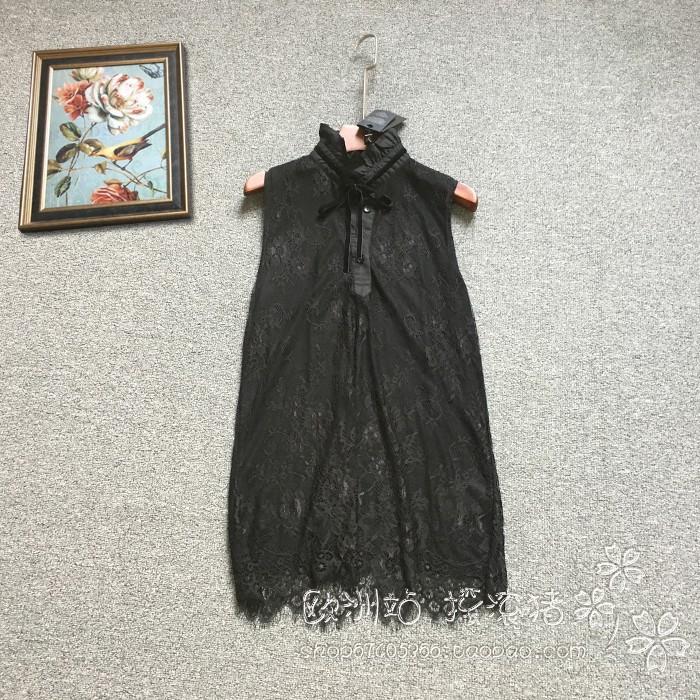 自留款18新欧货女夏意大利制TWIN-SET黑色系带百搭气质蕾丝背心特