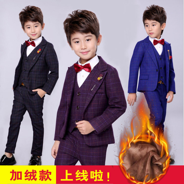 儿童西装加绒套装2018新款礼服英伦领结男童西装外套花童礼服潮