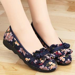 中国风老北京布鞋女中老年妈妈鞋平底复古民族风圆头浅口软底单鞋