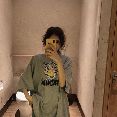 Fly韩版老虎头印花短袖t恤女秋冬季2018新款打底衫中长款宽松上衣