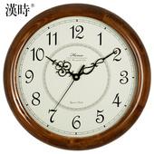 汉时钟表挂钟客厅实木北欧式复古静音现代简约创意圆形时钟HW18