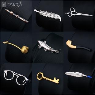 新品 包邮 领夹男士 欧版商务正装 领带夹男配饰花式领针 韩版 礼盒装