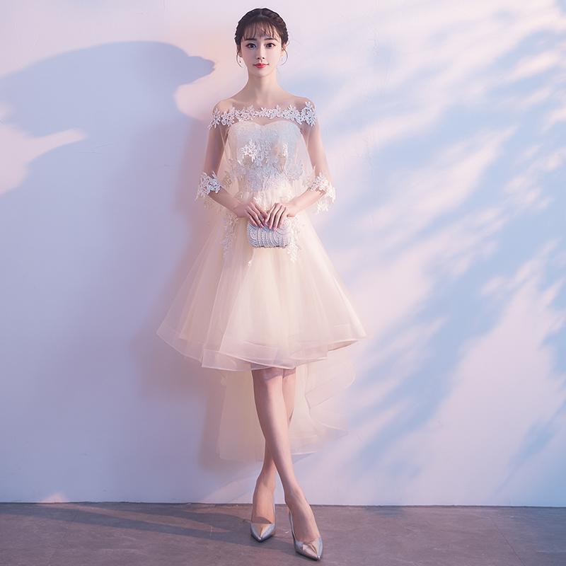 伴娘服女2019新款短款简单大方气质小礼服裙香槟色宴会晚礼服仙气