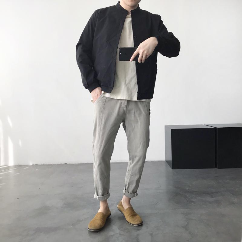 春季韩版男士纯色修身立领夹克帅气休闲百搭时尚简约青年外套上衣图片