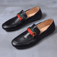 新款男士一脚蹬懒人鞋真皮青年街头潮流英伦百搭豆豆鞋驾车鞋男鞋