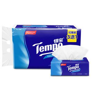 Tempo/得宝纸巾抽纸软抽4层加厚90抽3+1包德宝纸品天然无香可湿水