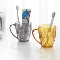 Wonderful Nordic style solid color brushing cup household transparent wash cup with handle plastic simple fashion mug