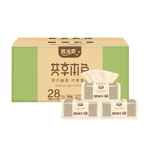 顺清柔家用家庭装100抽28包原木本色面餐巾纸卫生抽纸巾批发整箱