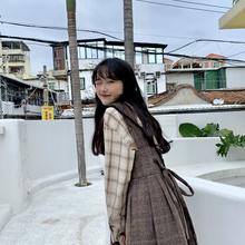 少女感后系带毛呢格子背心连衣裙韩国新款 YUKI小树家 q0118