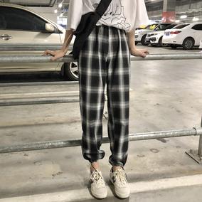 YUKIXIAOSHU可以两穿的百搭格子休闲裤长裤女自留款韩国新款k0636