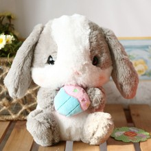 Promotional hot sale lop rabbit new doll PPKG undecided rabbit ball gray plush fabric toy bamboo charcoal