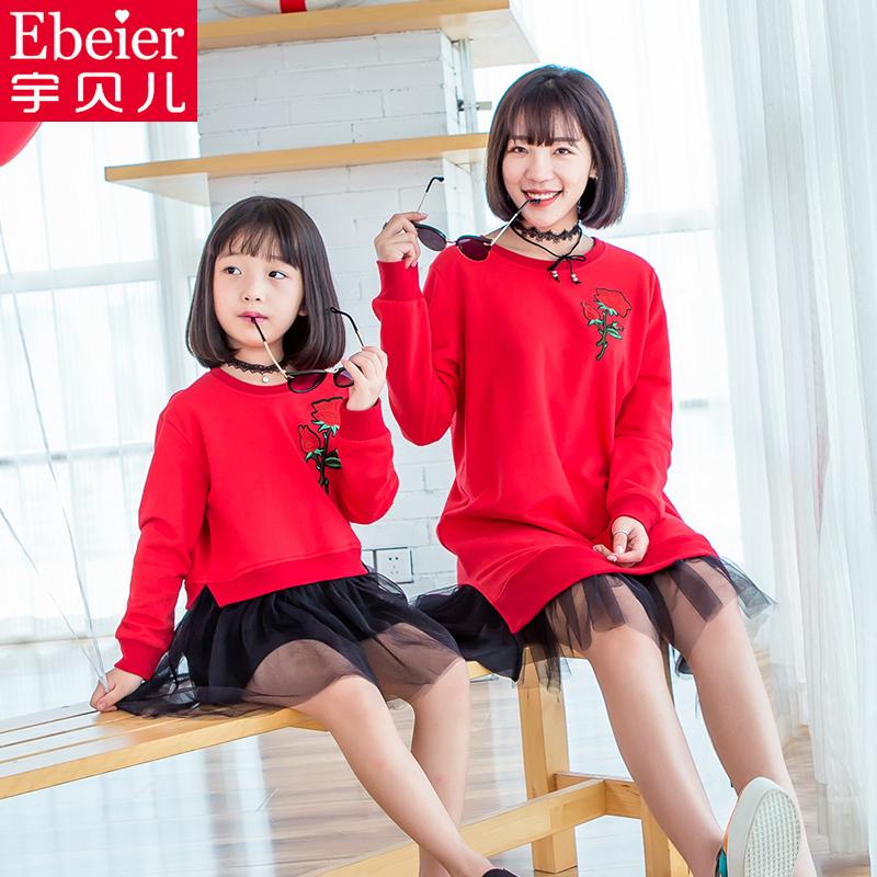 红色连衣裙亲子装