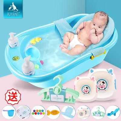 宝宝洗澡盆可坐躺婴儿沐浴盆新生幼儿防滑大号通用超大小孩加厚桶