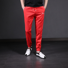 Spring and Summer 2009 Ultra-thin Pants, Men's Korean Edition, Men's Slim Nine-minute Pants, Young Men's Harun Trousers, Red Casual Pants, Men's Trend
