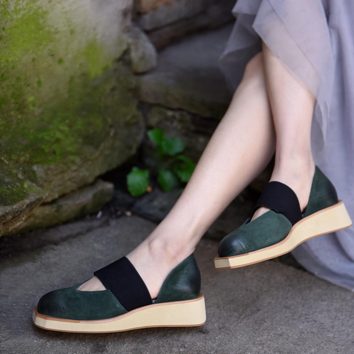 清仓女鞋 Artmu阿木原创厚底包头凉鞋女真皮坡跟方头半凉鞋