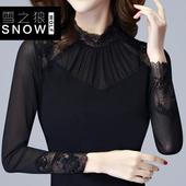 加绒加厚长袖蕾丝打底衫女2018秋季韩版t恤修身显瘦大码网纱上衣