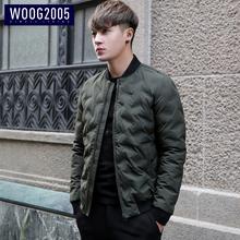WOOG2005棒球领加厚男士棉衣冬季韩版修身潮流夹克棉服冬天外套男
