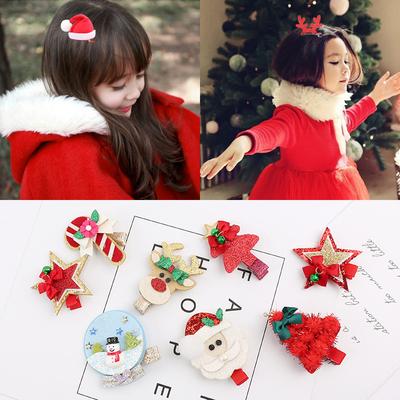 儿童圣诞节头饰女童发夹韩国公主发饰鹿角发箍发卡可爱兔耳朵饰品