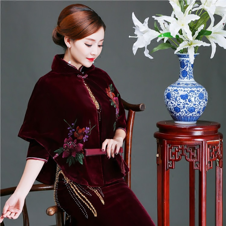 春秋秋冬妈妈 cheongsam outside shawl short coat hand-painted velvet shawl cheongsam