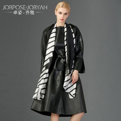 卓姿乔雅冬季新款女装绑带上衣简约通勤皮茄克+半身裙套装潮