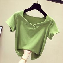 上衣 心机小众半袖 2019新款 ins短款 短袖 牛油果绿V领修身 女t恤夏装图片