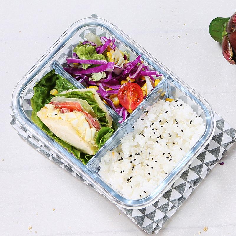 iCook带分隔玻璃碗饭盒微波炉耐热分格便当盒保鲜盒大容量三格