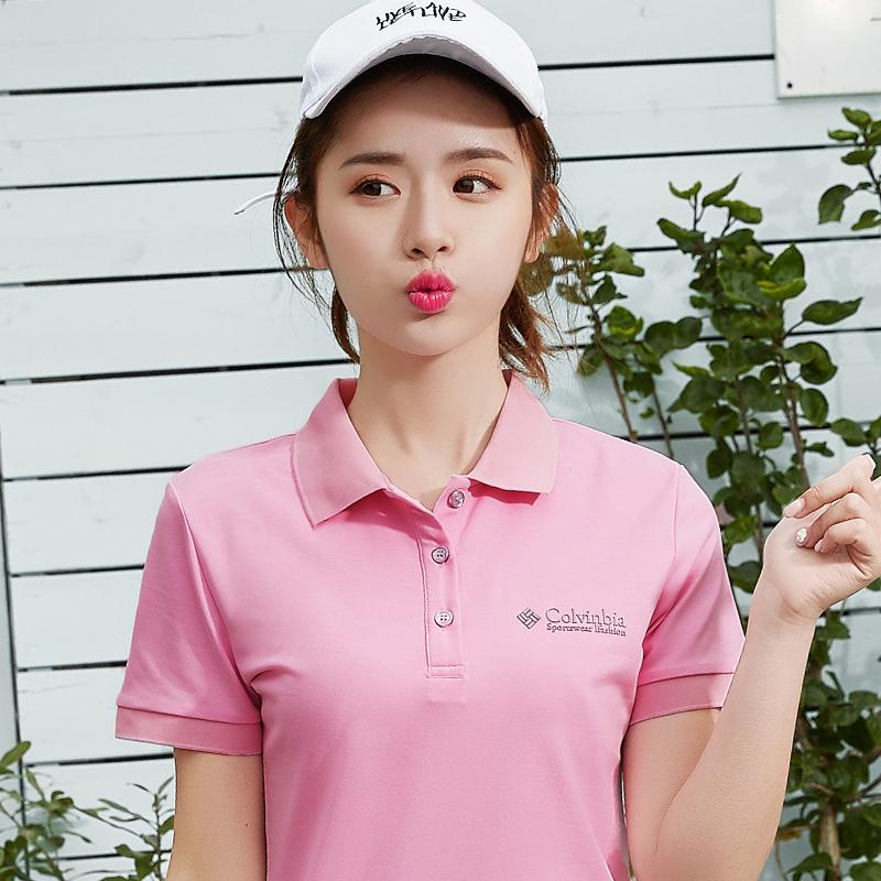 夏季新款粉色女士短袖t恤女翻领休闲运动韩版修身大码显瘦polo衫