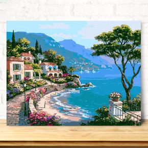 数字油画diy油彩画 大幅风景花卉客厅手工绘填色数码装饰画 多图