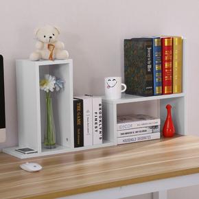 简易书架电脑桌小学生白色自由书橱搁板组合靠墙桌上置物架隔断货