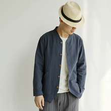 A New Autumn Thin Jacket, Male Linen Long Sleeve Shirt, Men's Clothes, Men's Retro-Chinese Style