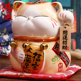 Japanese genuine lucky cat ornaments Persian cat Ceramic home Creative birthday gift Ceramic piggy bank