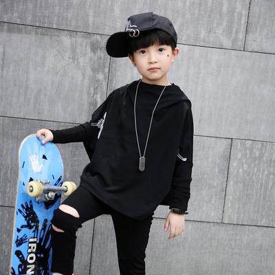 女童春装街舞套装2018新款韩版中大童长袖蝙蝠衫男孩嘻哈两件套潮