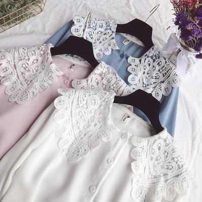 2019春季新款小清新白色衬衫女学生长袖宽松百搭蕾丝拼接衬衣上衣