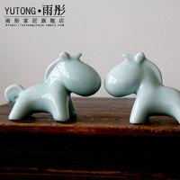 景德镇陶瓷器 创意马年吉祥物陶瓷生肖小马生动陶瓷马摆件工艺品