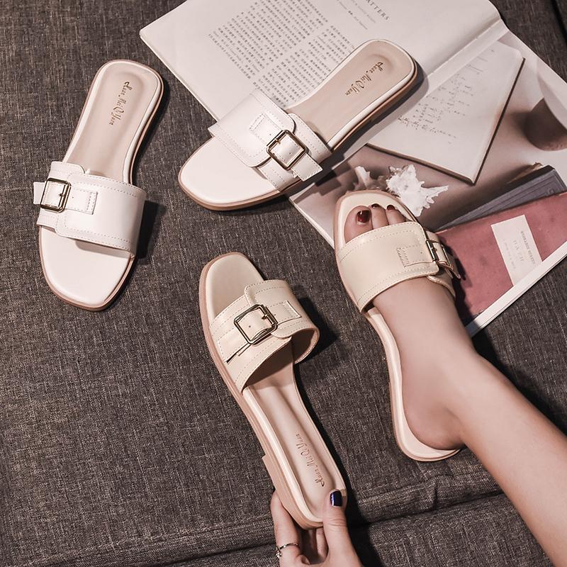 女士拖鞋女夏外穿时尚2018新款百搭平底一字大码凉拖鞋41-43肥脚