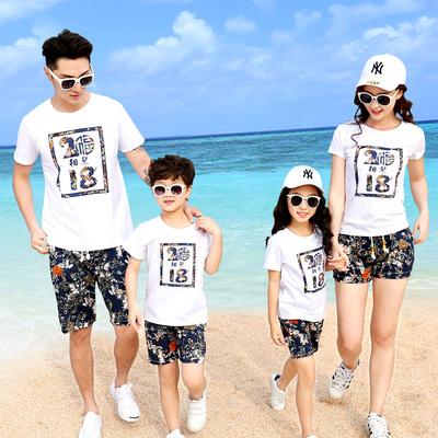 度假亲子装2018夏装一家三口全家海边沙滩套装舒服时尚大码母女装