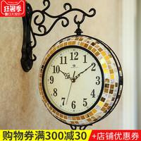 欧式复古创意客厅双面圆形挂钟时钟装饰品欧式家居卧室静音壁钟表