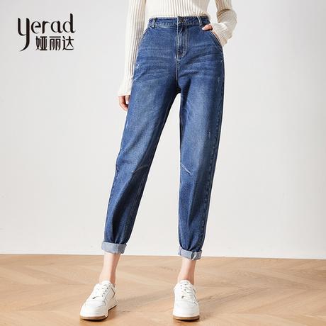 娅丽达女裤2019秋季新款直筒牛仔裤女宽松大码休闲显瘦牛仔长裤商品大图