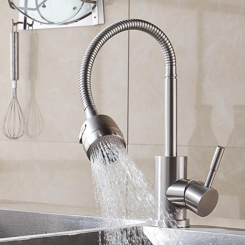 时龙SUS304不锈钢厨房万向冷热水龙头洗菜盆水槽冷热龙头
