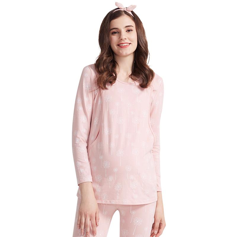 快乐屋新品哺乳秋衣孕妇喂奶产前后月子睡衣春秋时尚单件上衣