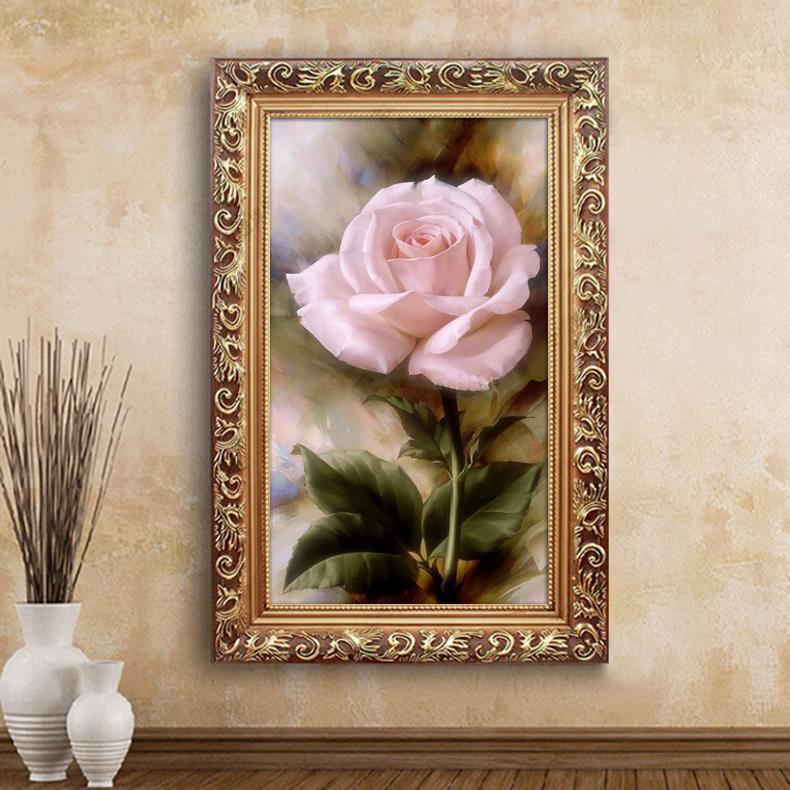 粉玫瑰花卉喷绘有框油画客厅装饰画欧式玄关壁画卧室床头挂画