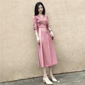 韩版 ins粉色复古V领长裙 冷淡风连衣裙收腰显瘦长袖 女2018新款 秋装