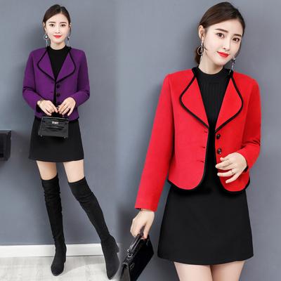 2018新款春秋季长袖女士短装矮个子毛呢外套韩版修身小香风呢子冬