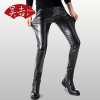 昊吉皮裤男 紧身韩版修身摩托车皮裤子 PU秋冬厚款弹力小脚裤长裤