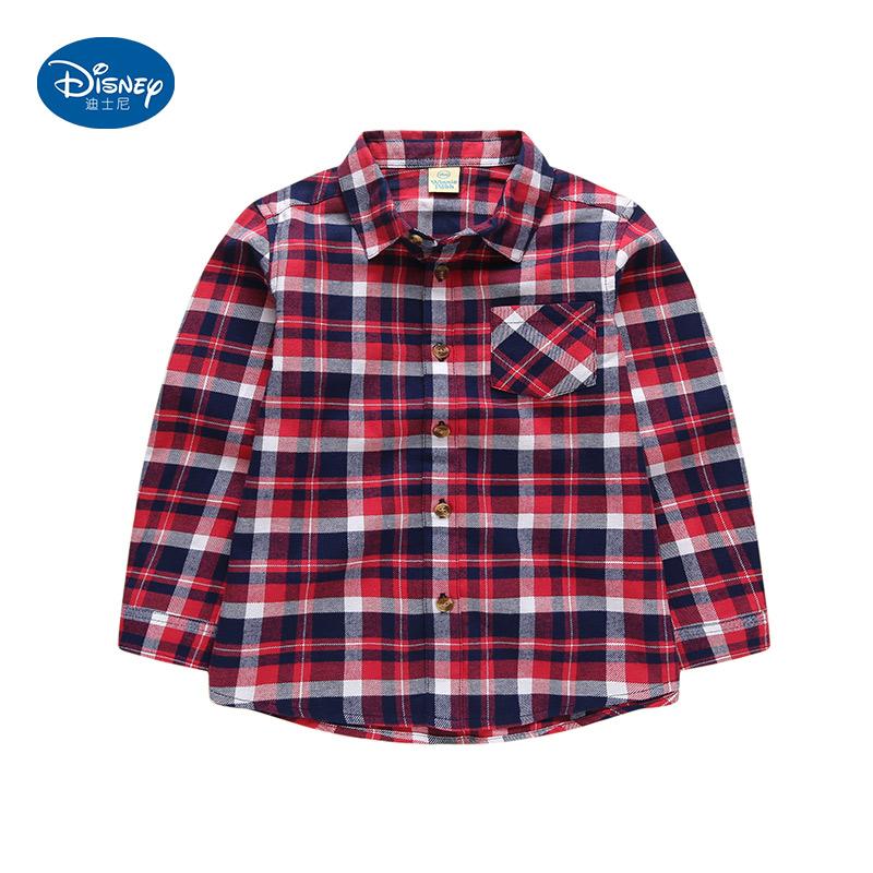 迪士尼童装男童长袖衬衫2017新秋装 儿童中小童格子纯棉衬衣上衣
