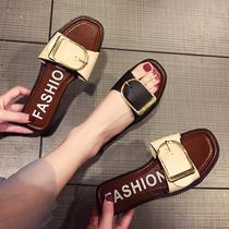 2019新款外出韩版一字拖鞋女夏外穿平底凉鞋百搭时尚室外沙滩凉拖